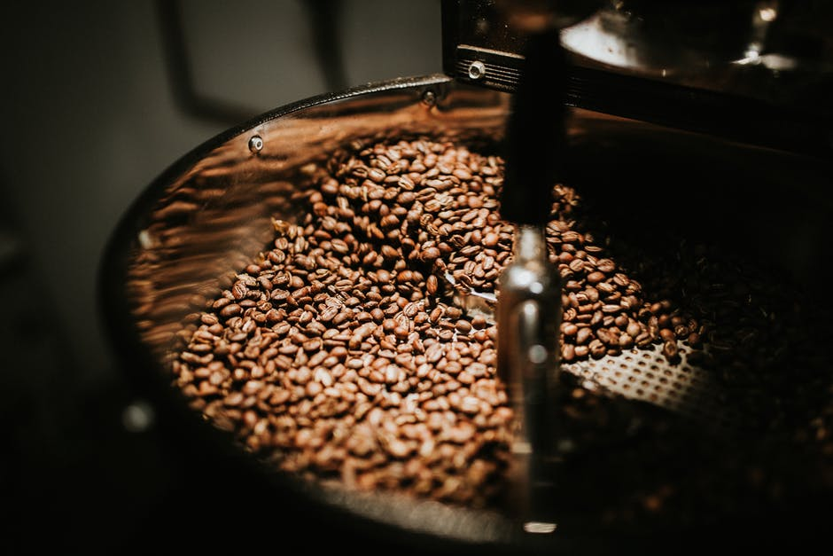 black coffee beans processing